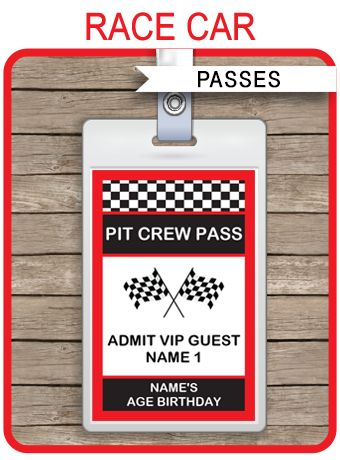 Race Car Party Pit Crew Passes template u2013 red Race car party - free vip pass template