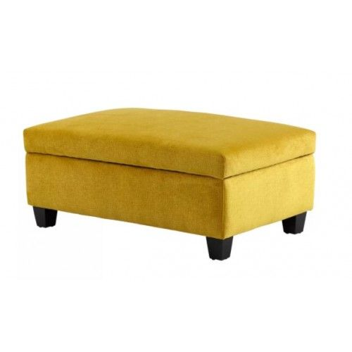 Bright Yellow Fabric Rectangular Storage Ottoman Yellow Ottoman Yellow Home Accessories Storage Ottoman