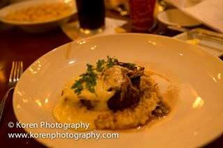"""""""Le Cellier"""" Mushroom Filet Mignon, which is an 8-oz AAA Canadian Beef Tenderloin with Wild Mushroom Risotto, White Truffle-Butter Sauce, an..."""