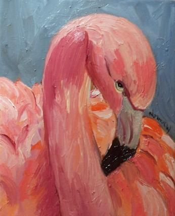 Norma Wilson Original Oil Pink Flamingo Looking Coy, painting by artist Norma Wilson