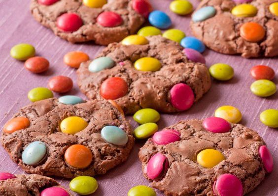 Chocolate smartie cookies