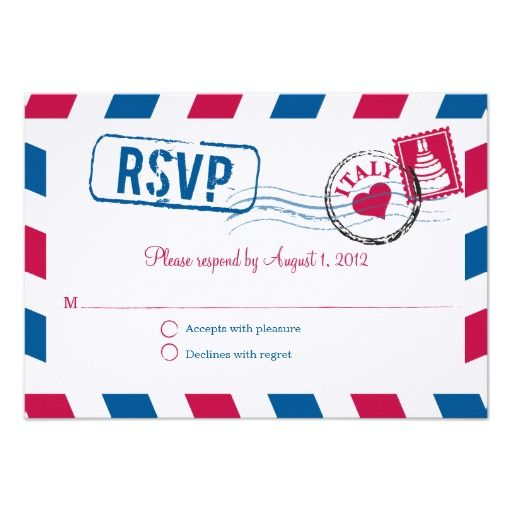 Italy Air Mail Wedding RSVP Personalized Announcements