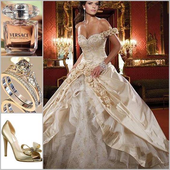 White Wedding Gown Gold: White And Gold Wedding. Sweetheart Corset Ballgown Dress