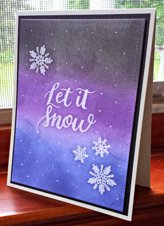 Let it Snow Set of 4 Watercolor Holiday Cards by CaffeinatedPapercuts