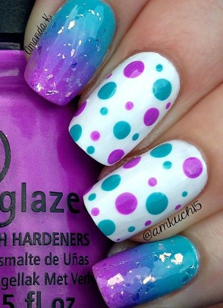 Purple Turquoise Nail Art Pinterest And