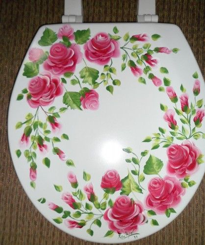 Custom painted molded wood round toilet seat roses shabby for Commode style shabby chic