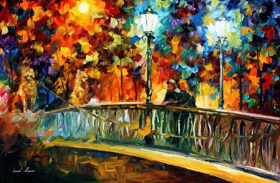 DATE ON THE BRIDGE - Palette knife Oil Painting  on Canvas by Leonid Afremov - http://afremov.com/DATE-ON-THE-BRIDGE-Palette-knife-Oil-Painting-on-Canvas-by-Leonid-Afremov-Size-36-x24.html?bid=1&partner=20921&utm_medium=/vpin&utm_campaign=v-ADD-YOUR&utm_source=s-vpin