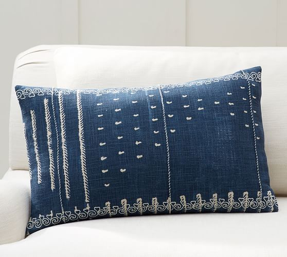 Shibori Embroidered Lumbar Pillow Cover