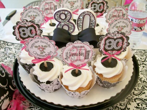 80th birthday party birthday cake with a little bling for 80th birthday party decoration