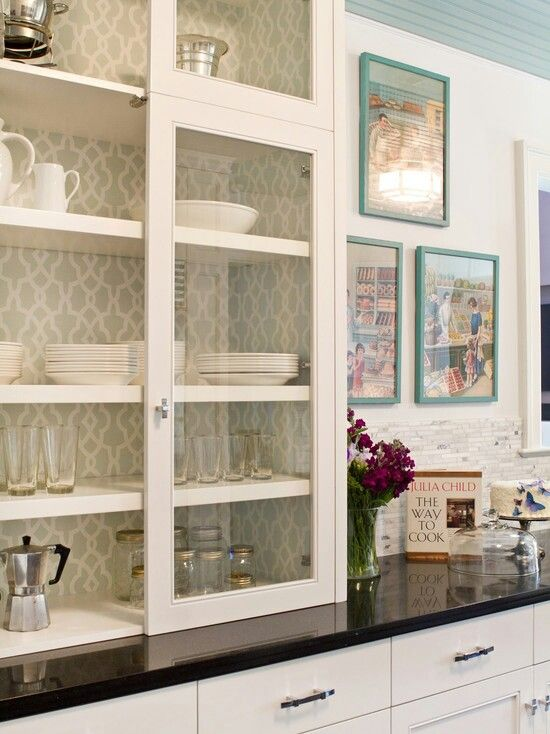 Paint & wallpaper inside cabinets- need to do this until we can ...