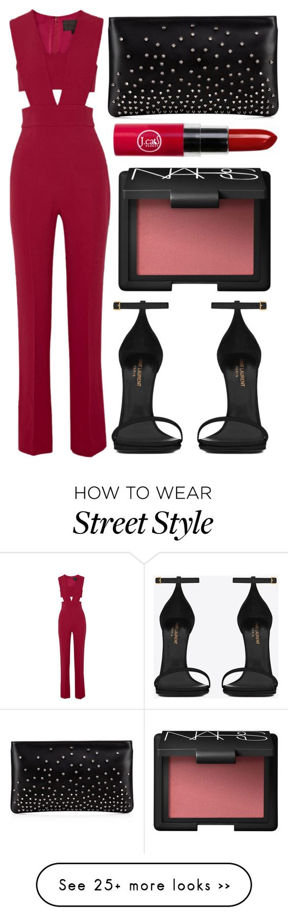 """street style"" by sisaez on Polyvore featuring Cushnie Et Ochs, Yves Saint Laurent, NARS Cosmetics and Christian Louboutin:"