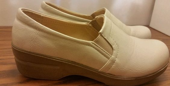 Ingaro women's size 7.5 ivory leather occupational nursing shoes clogs non skid in Clothing, Shoes & Accessories, Women's Shoes, Occupational | eBay