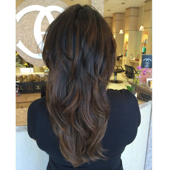 short layers long hair dark brown black caramel balayage