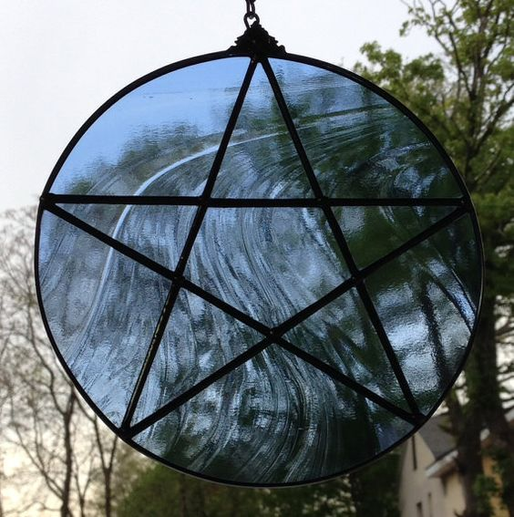 Handcrafted Stained Glass Pentagram Air Element Blue by craftycleo, $35.00