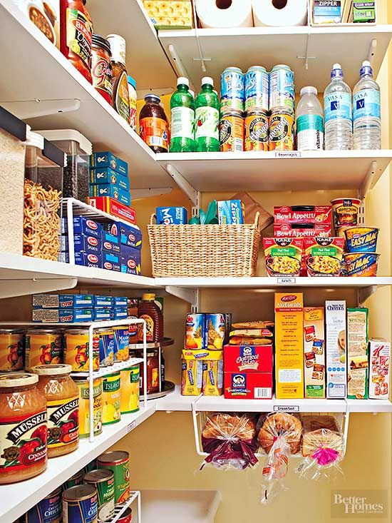 Divide your pantry in zones to keep your food organized and to reduce your meal-preparation time. First, identify food and cooking categories that suit your lifestyle (weeknight dinners, portable lunches, baking, etc.) Next, designate an area for each, with the most often-used zones in easy reach. Finally, label each zone.