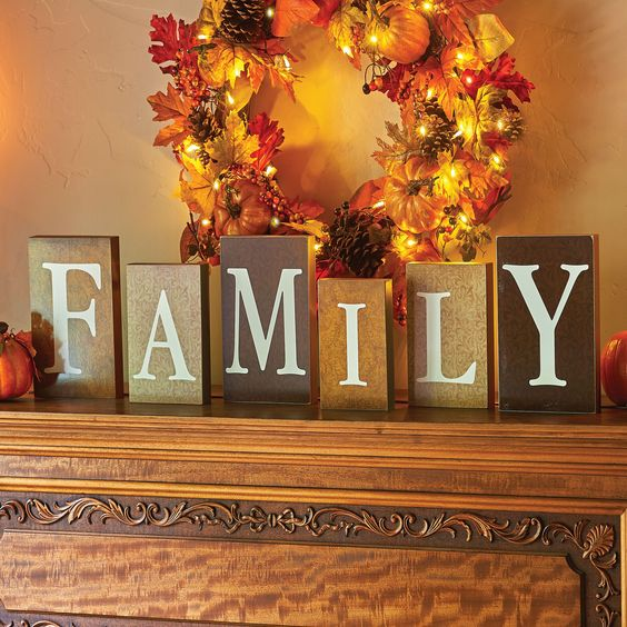 Give thanks for the special people in your life this holiday season with these wooden blocks in various sizes and autumnal colors.