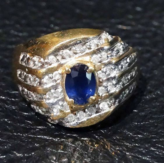 Sapphire Diamond Ring Unisex Kanchanaburi 10k Gold Size 10 Vintage Vintage Sapphire Ring Sapphire Diamond Ring Sapphire Diamond
