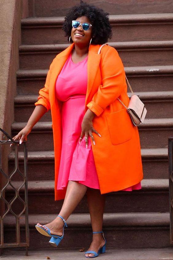 Peggy - vestido e casaco - colorido - outono - street style - laranja - rosa - pink