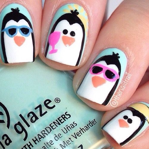 Penguins Nail Art.