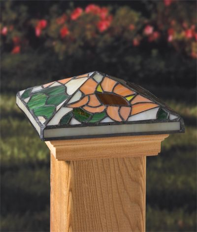 #Deckorators #Sunflower #tiffany style glass post cap will complement your #garden