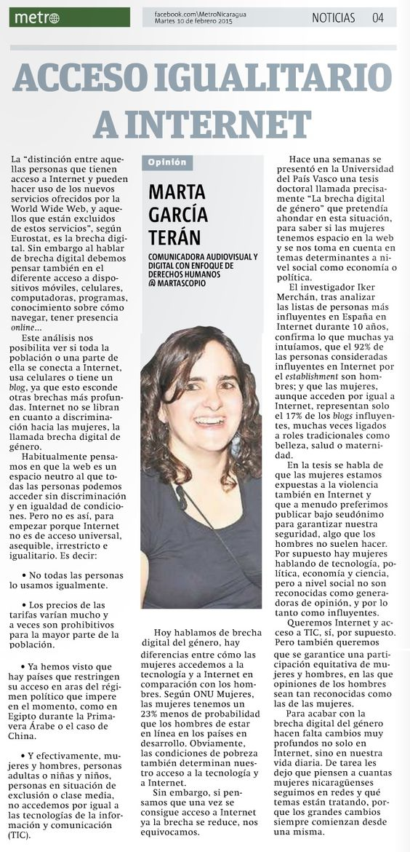 #Acceso igualitario a #Internet por Marta García Terán