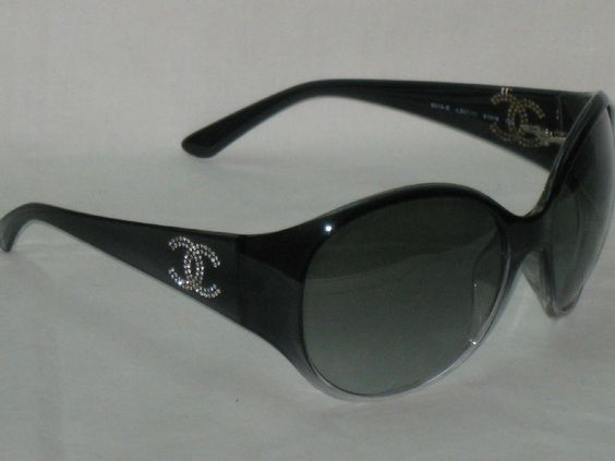 Authentic Chanel 6013 B Round Shield CC Crystal Logo Gray Frame Lens Sunglasses #CHANEL #Round