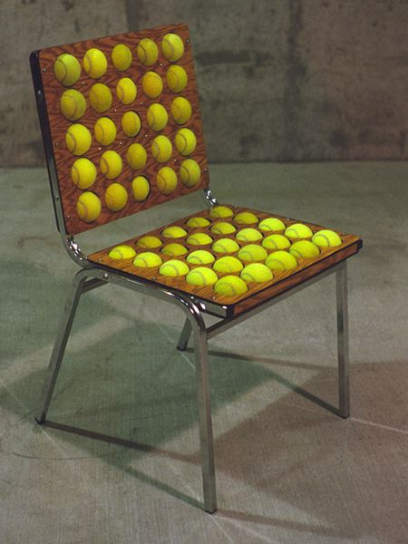 This actually looks like it would be super comfortable! Recycled tennis balls become your cushion