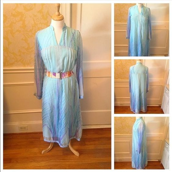 Size XL Vintage Blue Dress Size XL (up to 16/18). Vintage dress. Sky blue, lavender polyester & chiffon dress. $20 plus tax and shipping. 2-day shipping available. Dresses Long Sleeve