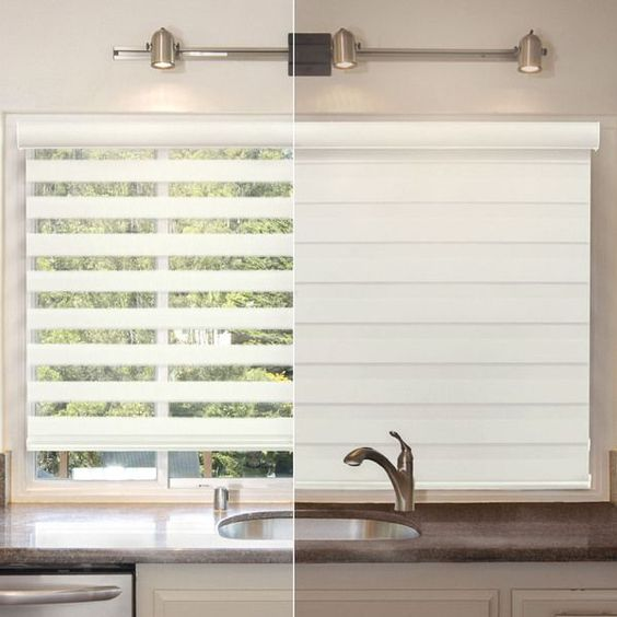 Chicology Free-Stop Cordless Zebra Roller Shade, Striped - Zebra, Sheer or Privacy - West Ivory