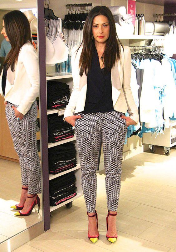 White Blazer by Rebecca Minkoff, Print Pants by Zara, Navy Blouse by T Babaton, Purple Pumps by Kurt Geiger #WNTW