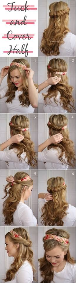 Half up half down headband twist.: