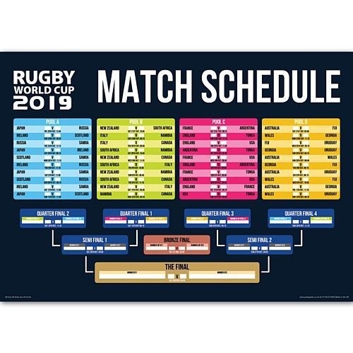 Rugby World Cup Japan 2019 Match Fixtures Poster Rugby World Cup World Cup Fixtures World Cup Match