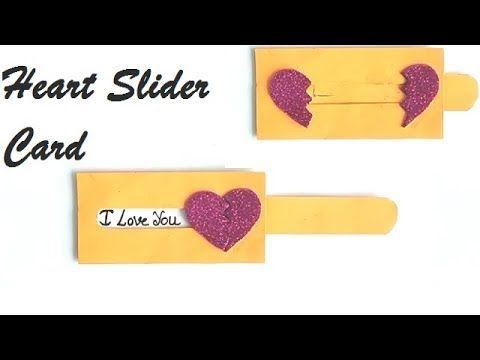 Diy Heart Slider Card Tutorial Love Slider Card Tutorial Card Making Idea Youtube Slider Cards Card Tutorial Card Making