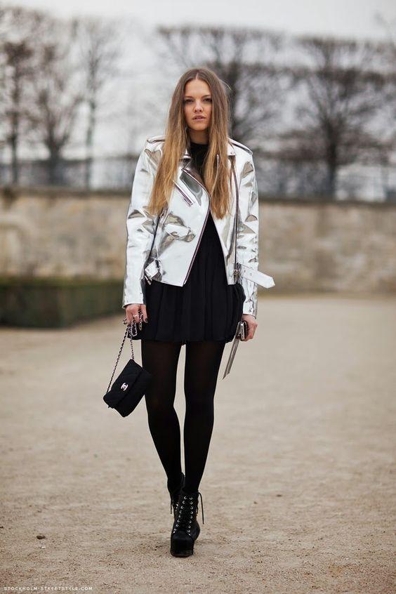 Look.inspiration, outfit, estilo, inspiração, street style, fashion, trend, moda, tendencia, get inspired, inspire-se, metallized, metalizado, metalico, jacket, jaqueta, giacca: