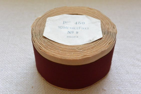 Brick Vintage Grosgrain Ribbon 1 1/2″ wide 10 yards long on original paper roll A roll of vintage French grosgrain ribbon in a brick red color. The ribbon is wound in its original packaging. The width on the label is No 9. The spool reads the following: Pon 450; 10 Me'tres Fixes; No. 9; Rhodia […]