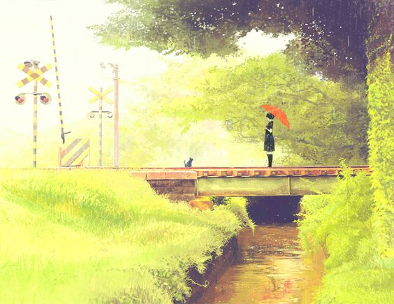 Green Rain ( 青時雨 ) by Japanese artist GEMI   ( げみ ).