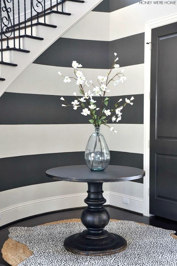 gray and white painted striped walls