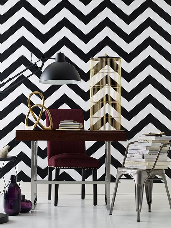 Devine Color Zig Zag Peel & Stick Wallpaper Black