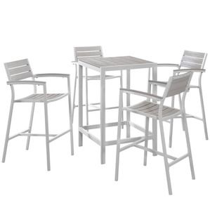 Modway Maine 5 Piece Outdoor Patio Bar Set in White Light Gray