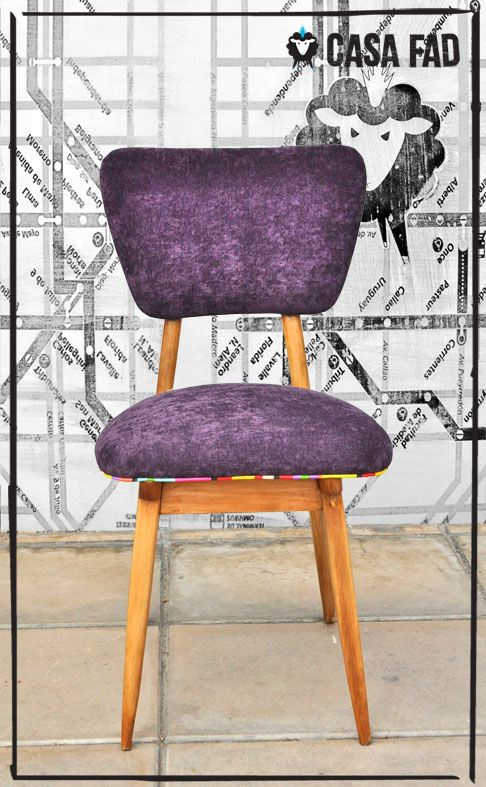 Juego de 4 sillas retro americanas tapizadas en velutti for Sillas tapizadas colores