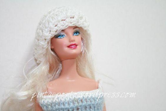 Barbie vestido crochet azul