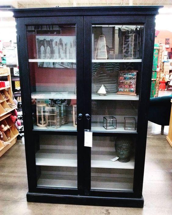 Hamilton Curio Cabinet @worldmarket #furniture #furnituredesign #hamilton #curio #cabinet #shelves #black #doors #classic #detail #woodwork #woodworker #interiordesign #interior de theonlyrckm