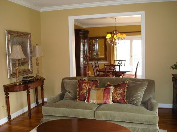 Sw restrained gold paint color for living room would go - What colors go with olive green walls ...