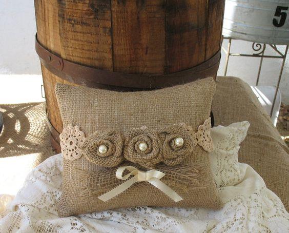 Burlap Ring Bearer Pillow by TheShabbyChicWedding on Etsy: