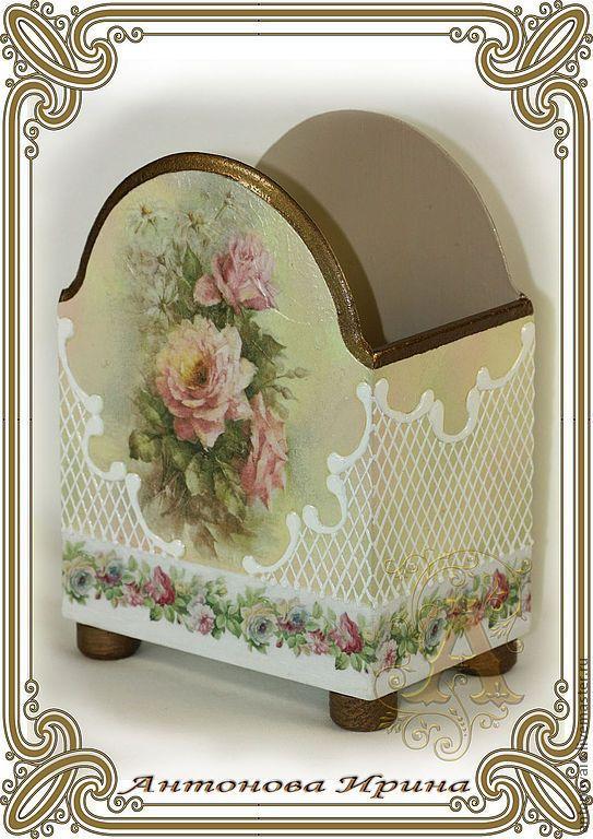 """Купить Салфетница- """"Розы"""" - бежевый, салфетница, для кухни, для салфеток, для стола, заготовка, акриловые краски и лак"""
