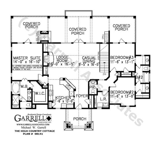 English cottage floor plans high country cottage plan for Cottage house plans with back porches
