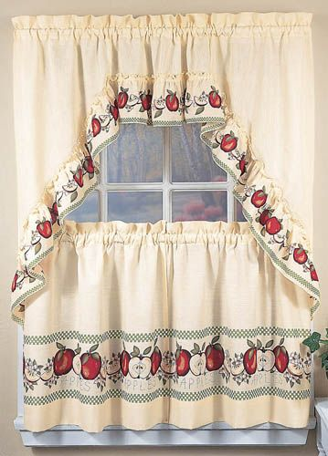 Apple Window Curtains, country kitchen decor swag tiers - Apple ...