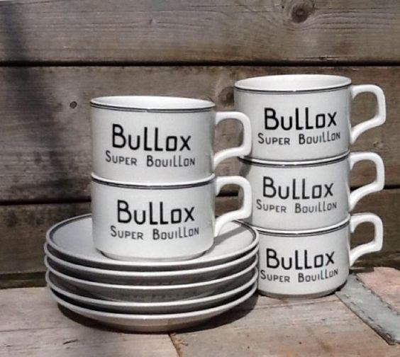 P.Regout, Bullox Super Bouillon, kop en schotels 5x