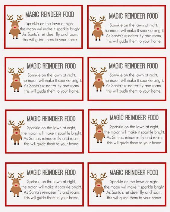 Magic Reindeer Food Magic Reindeer Food Reindeer Food Label