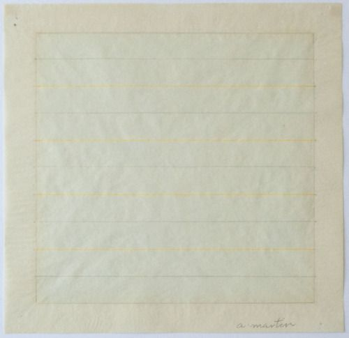 Agnes Martin, untitled, 1978 Watercolor and pencil on rice paper, 11 × 11 in (27.9 × 27.9cm)